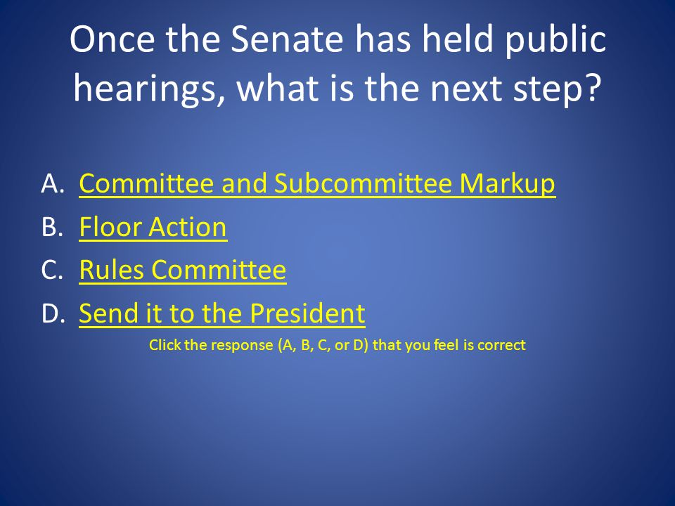 Once the Senate has held public hearings, what is the next step
