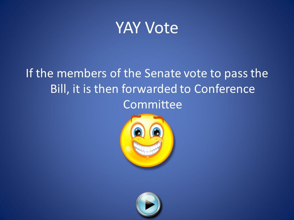 YAY Vote If the members of the Senate vote to pass the Bill, it is then forwarded to Conference Committee.