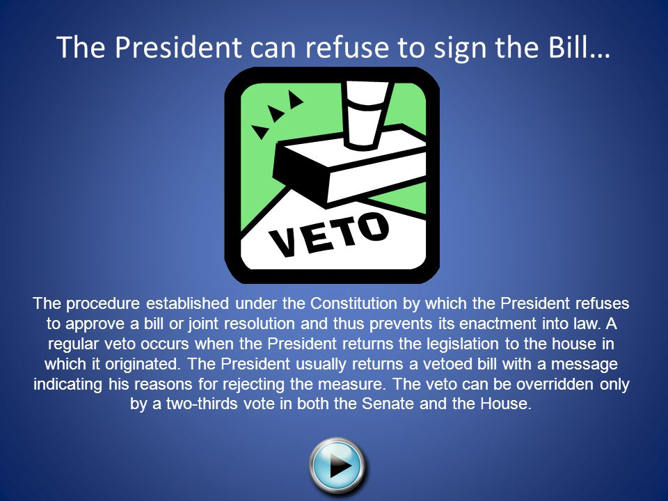 The President can refuse to sign the Bill…