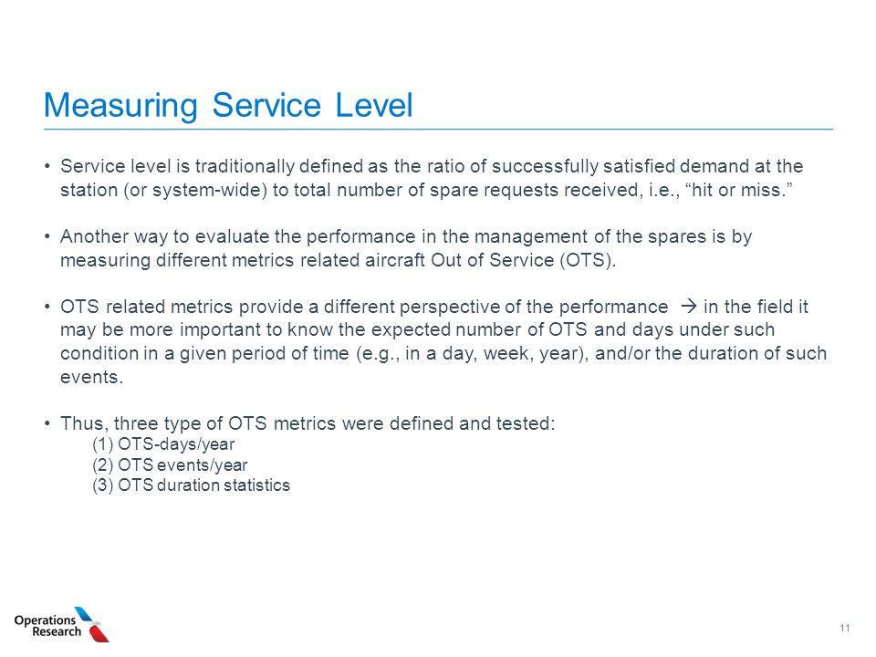 Measuring Service Level