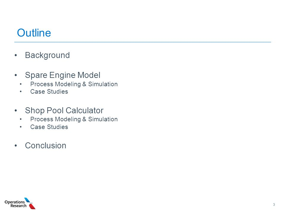 Outline Background Spare Engine Model Shop Pool Calculator Conclusion