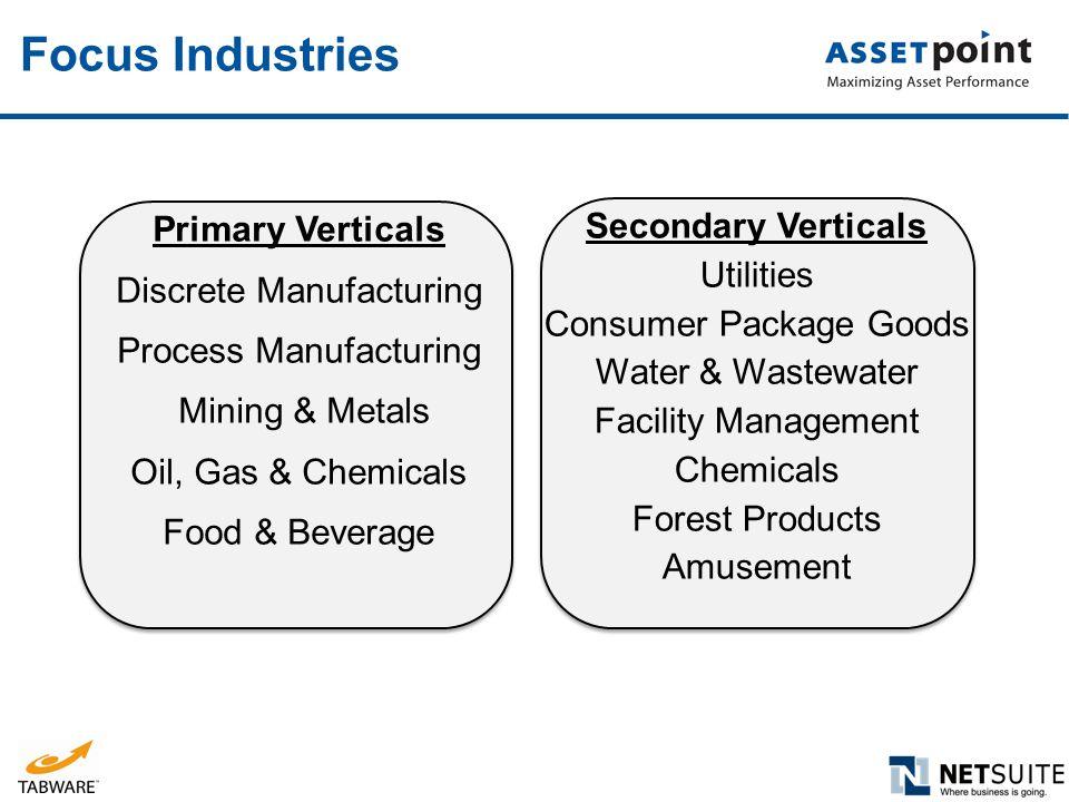 Focus Industries Primary Verticals Secondary Verticals