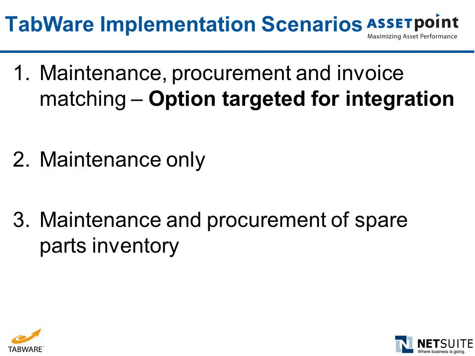 TabWare Implementation Scenarios