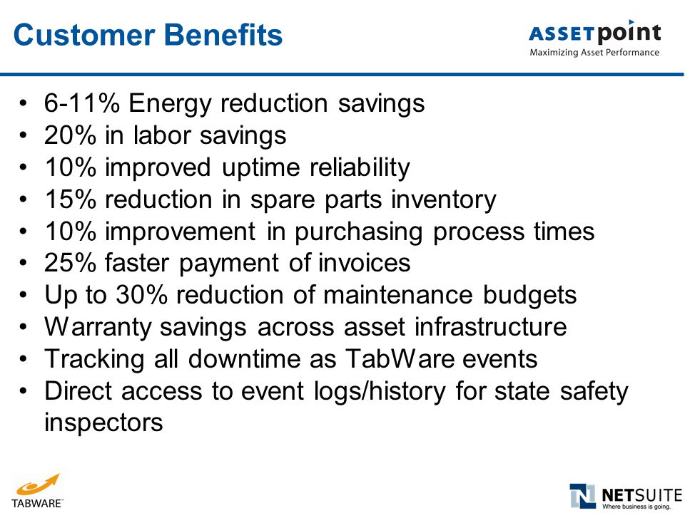 Customer Benefits 6-11% Energy reduction savings 20% in labor savings