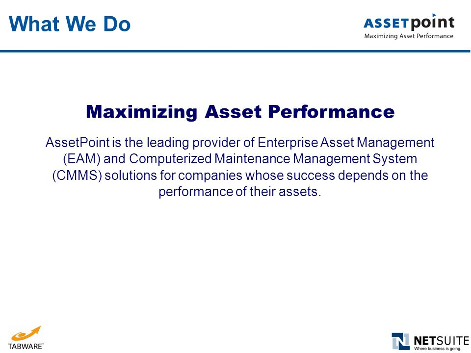 Maximizing Asset Performance