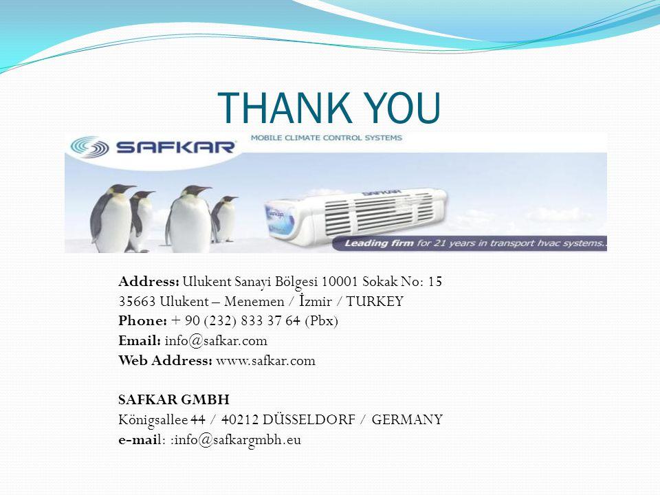 THANK YOU Address: Ulukent Sanayi Bölgesi 10001 Sokak No: 15