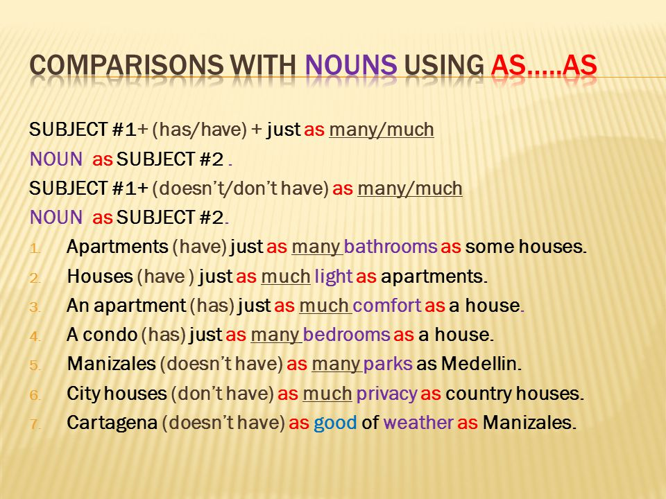 Comparisons with nouns using as…..as