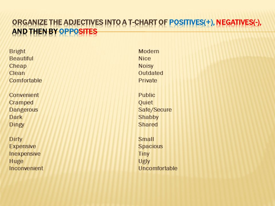 Organize the adjectives into a t-chart OF positiveS(+), negativeS(-), AND THEN BY OPPOSITES
