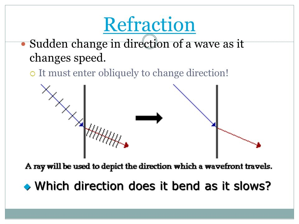 Refraction Sudden change in direction of a wave as it changes speed.