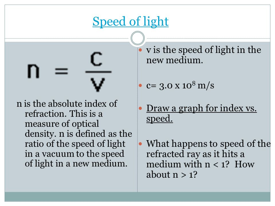 Speed of light v is the speed of light in the new medium.