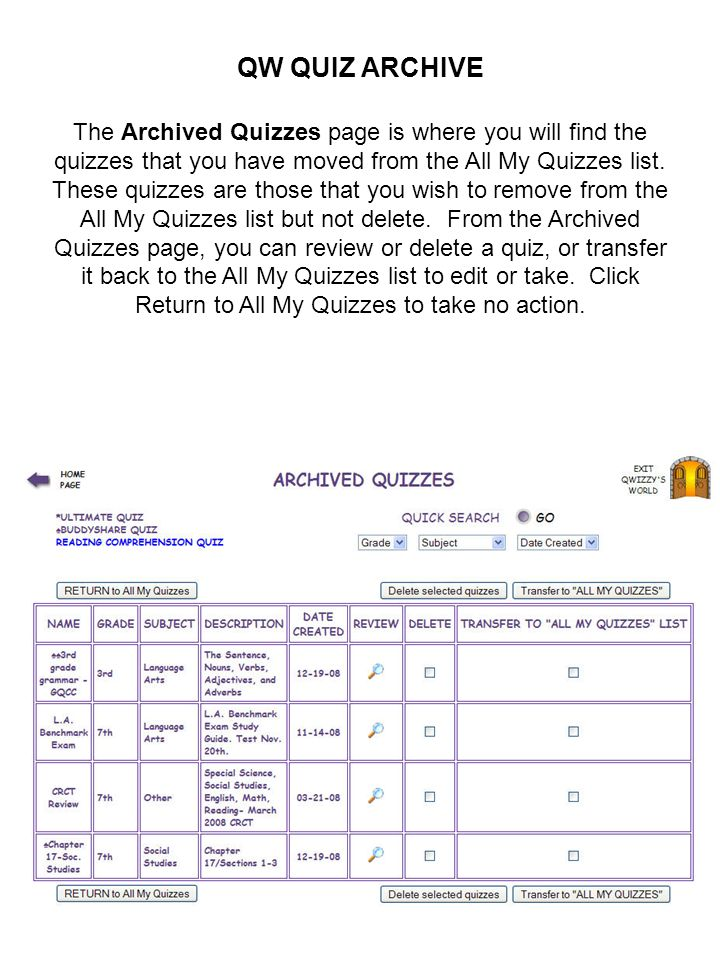 QW QUIZ ARCHIVE
