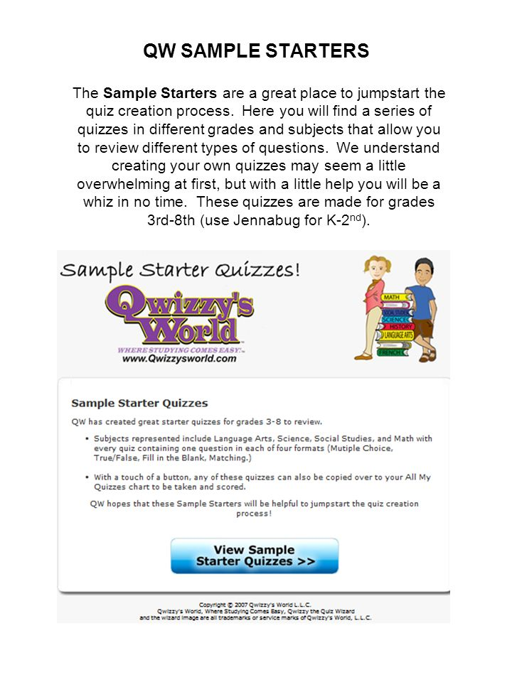 QW SAMPLE STARTERS