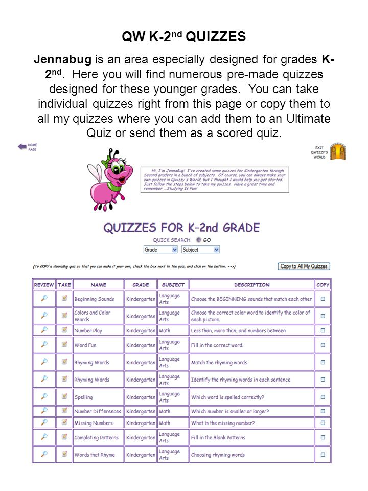 QW K-2nd QUIZZES