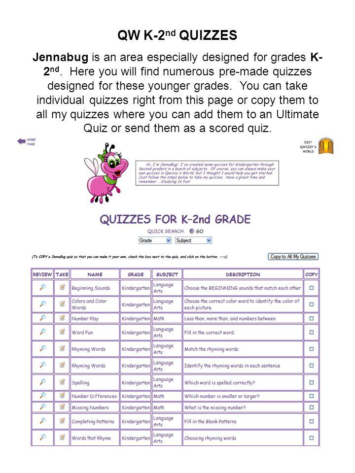 QW K-2nd QUIZZES