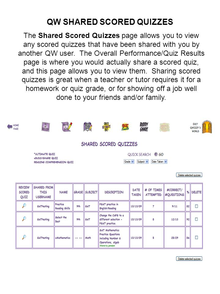 QW SHARED SCORED QUIZZES