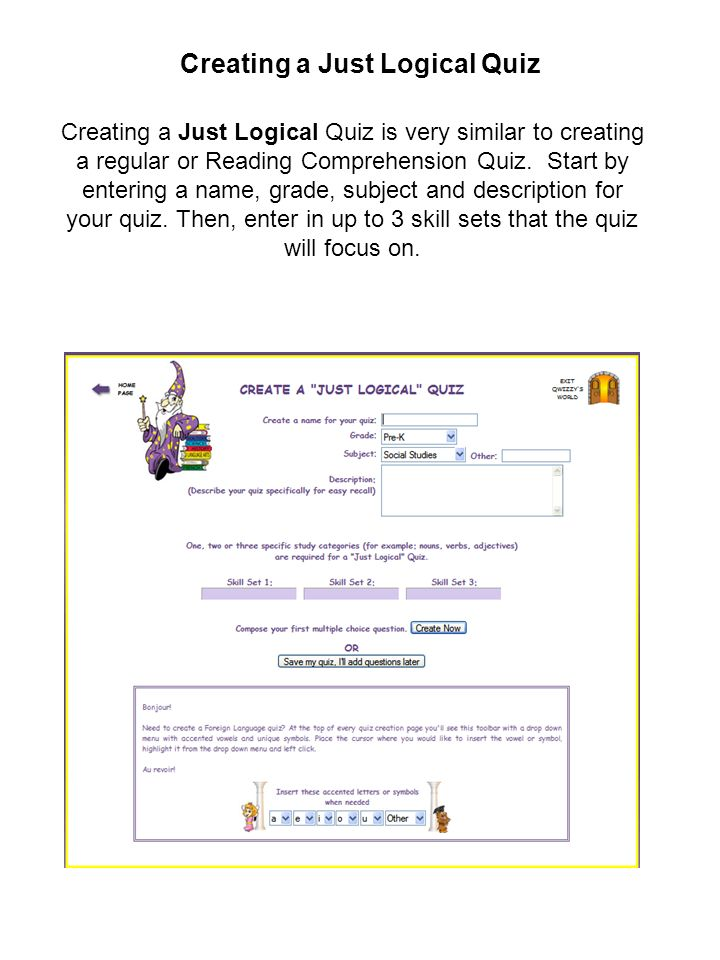 Creating a Just Logical Quiz