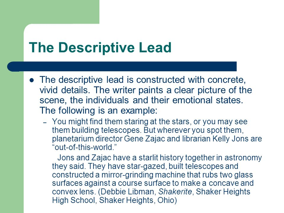 The Descriptive Lead