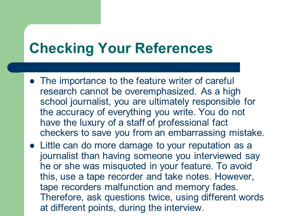 Checking Your References