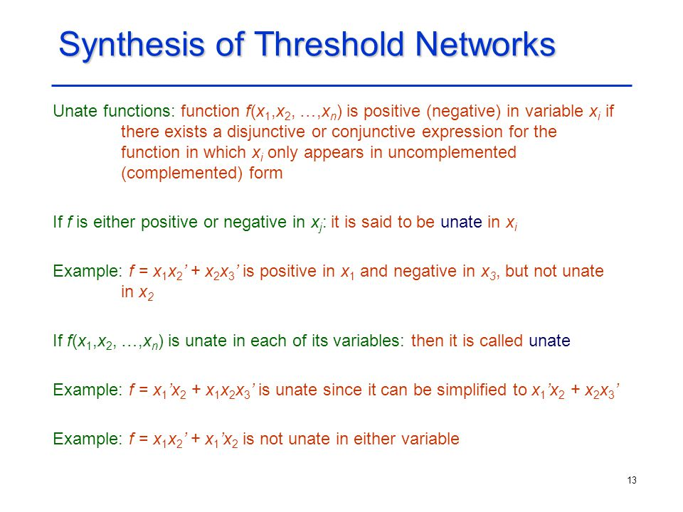 Synthesis of Threshold Networks