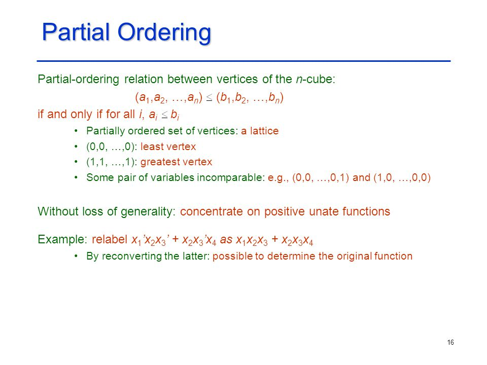 Partial Ordering Partial-ordering relation between vertices of the n-cube: (a1,a2, …,an) (b1,b2, …,bn)