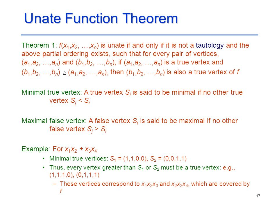 Unate Function Theorem