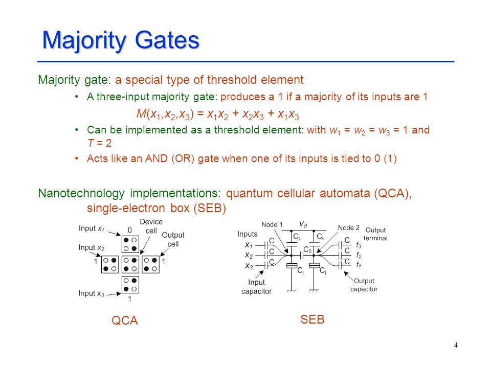 Majority Gates Majority gate: a special type of threshold element