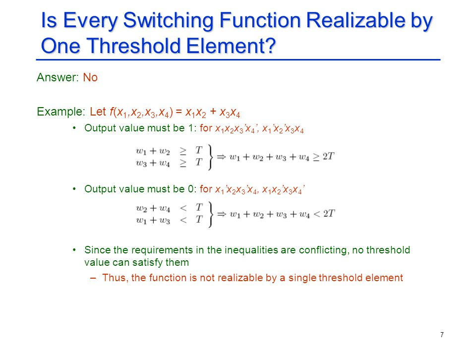 Is Every Switching Function Realizable by One Threshold Element