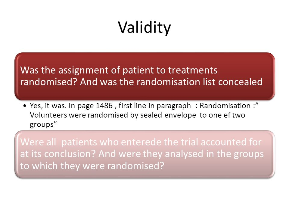Validity Was the assignment of patient to treatments randomised And was the randomisation list concealed.
