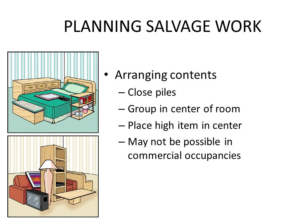PLANNING SALVAGE WORK Arranging contents Close piles