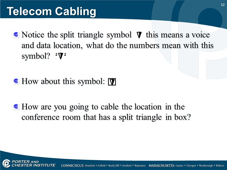 Telecom Cabling Notice the split triangle symbol this means a voice and data location, what do the numbers mean with this symbol