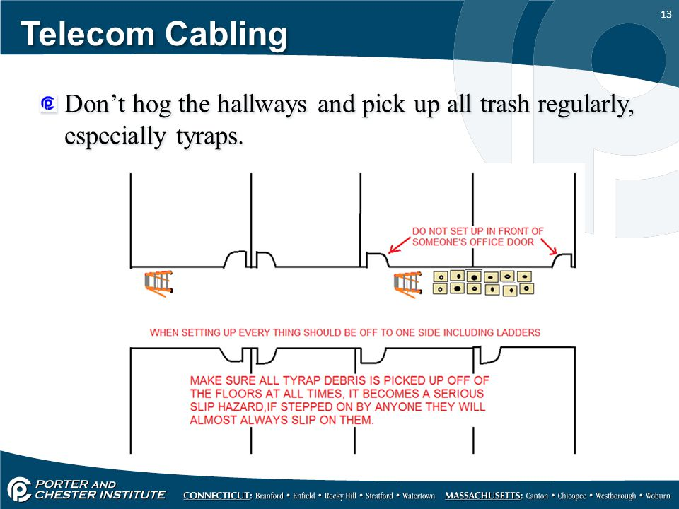 Telecom Cabling Don't hog the hallways and pick up all trash regularly, especially tyraps.