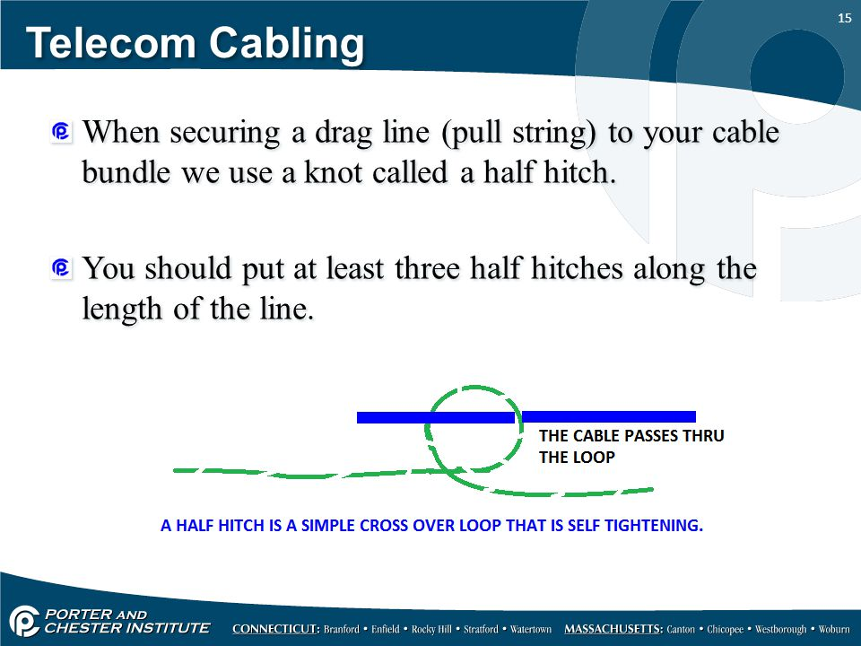 Telecom Cabling When securing a drag line (pull string) to your cable bundle we use a knot called a half hitch.