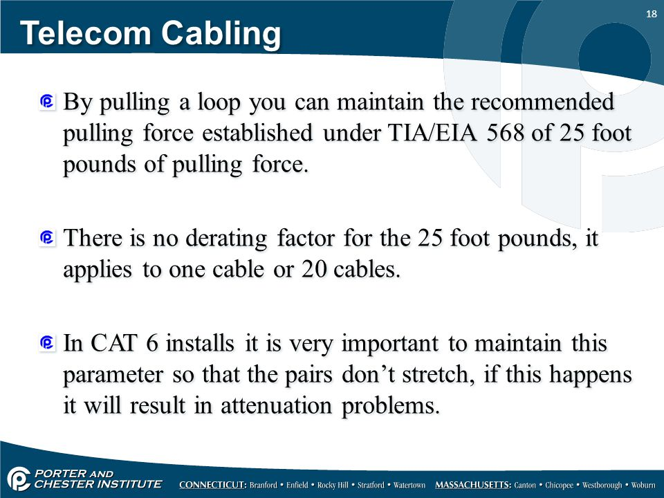 Telecom Cabling By pulling a loop you can maintain the recommended pulling force established under TIA/EIA 568 of 25 foot pounds of pulling force.
