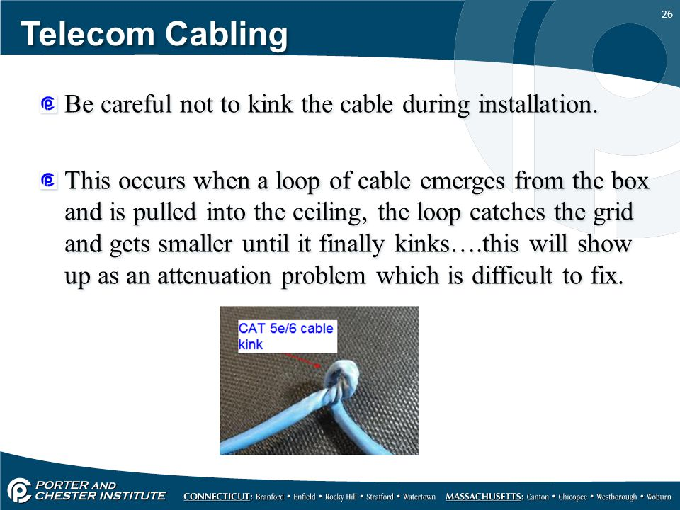 Telecom Cabling Be careful not to kink the cable during installation.