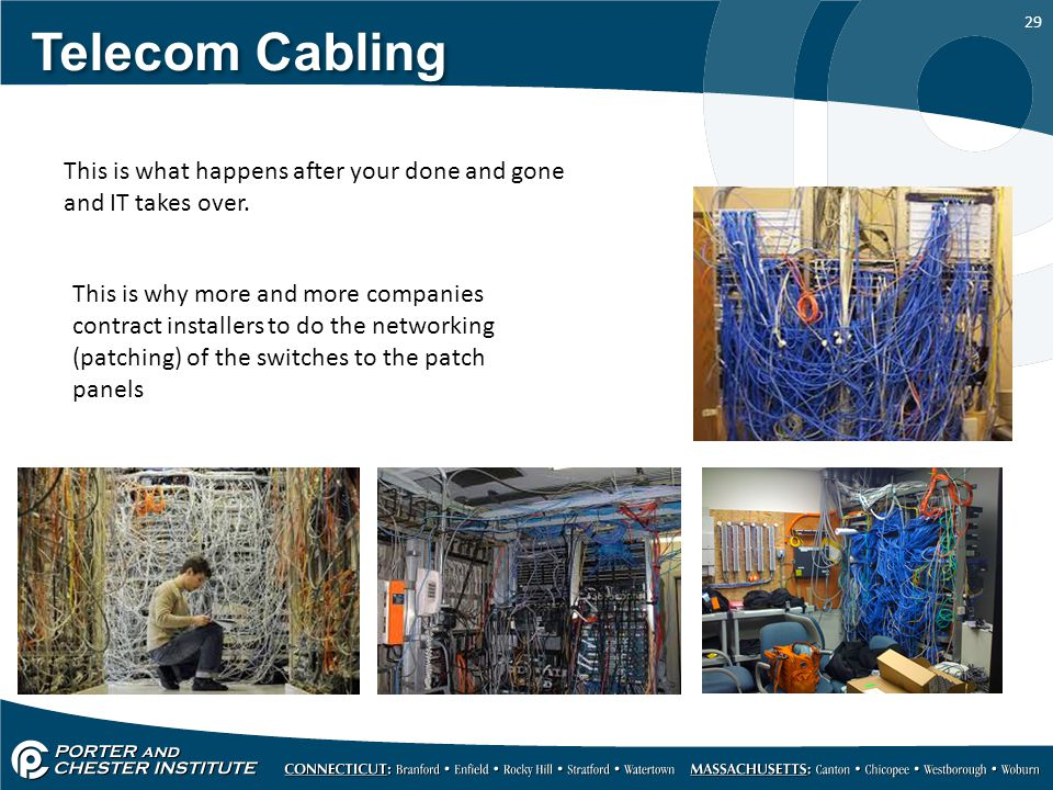 Telecom Cabling This is what happens after your done and gone and IT takes over.