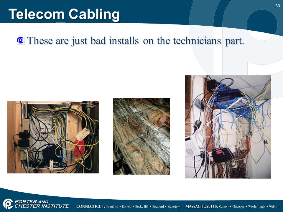 Telecom Cabling These are just bad installs on the technicians part.