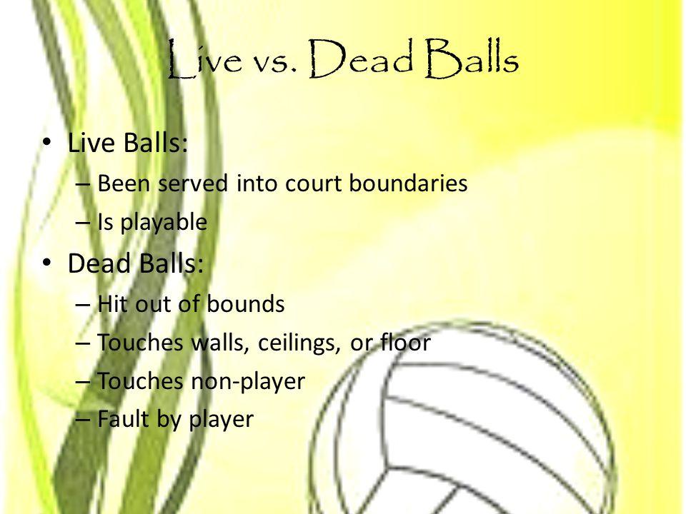 Live vs. Dead Balls Live Balls: Dead Balls: