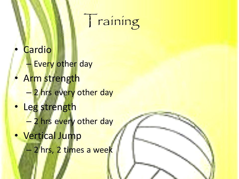 Training Cardio Arm strength Leg strength Vertical Jump