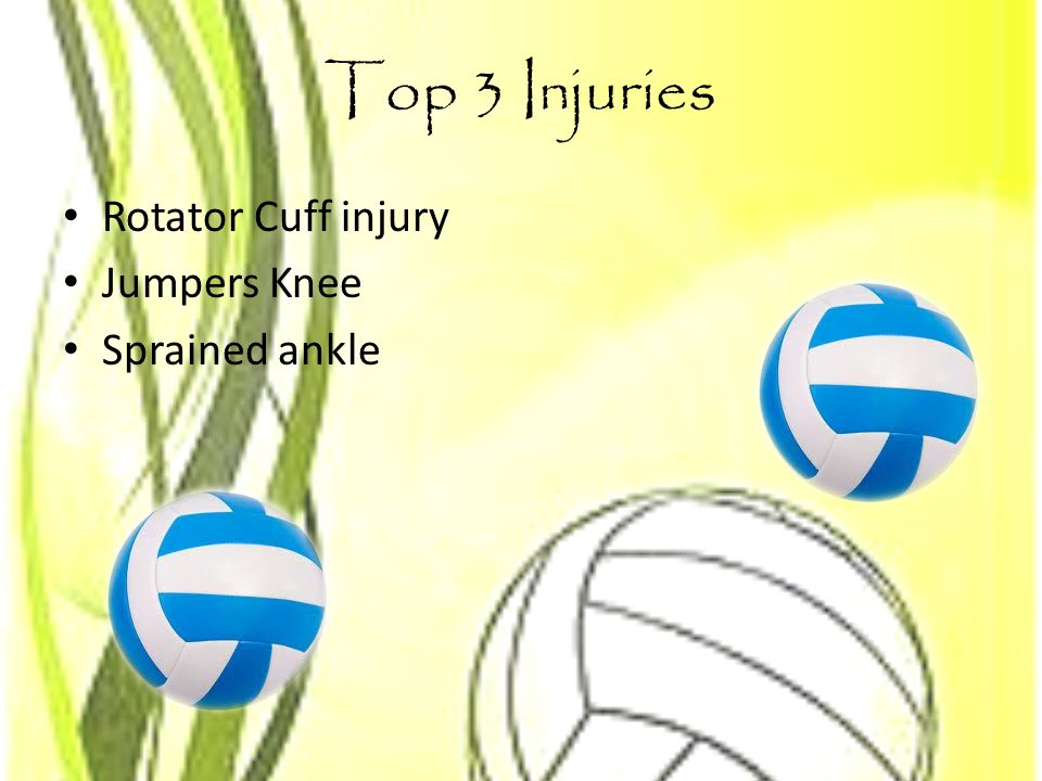 Top 3 Injuries Rotator Cuff injury Jumpers Knee Sprained ankle
