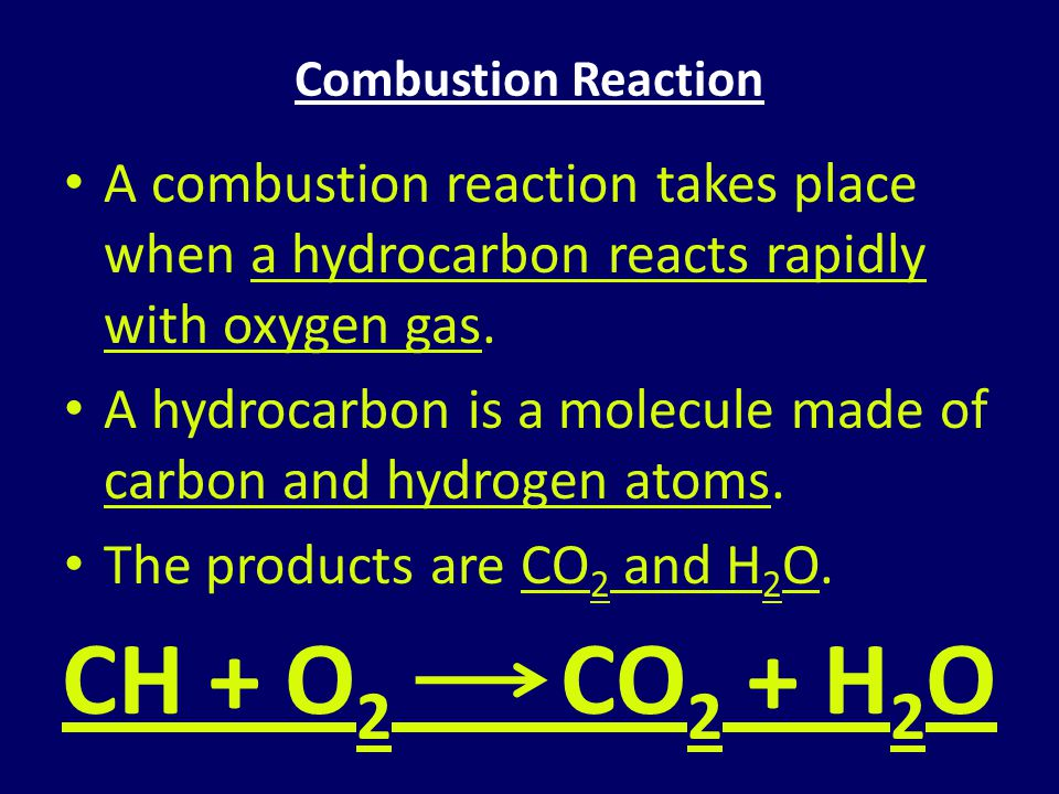 Combustion Reaction A combustion reaction takes place when a hydrocarbon reacts rapidly with oxygen gas.