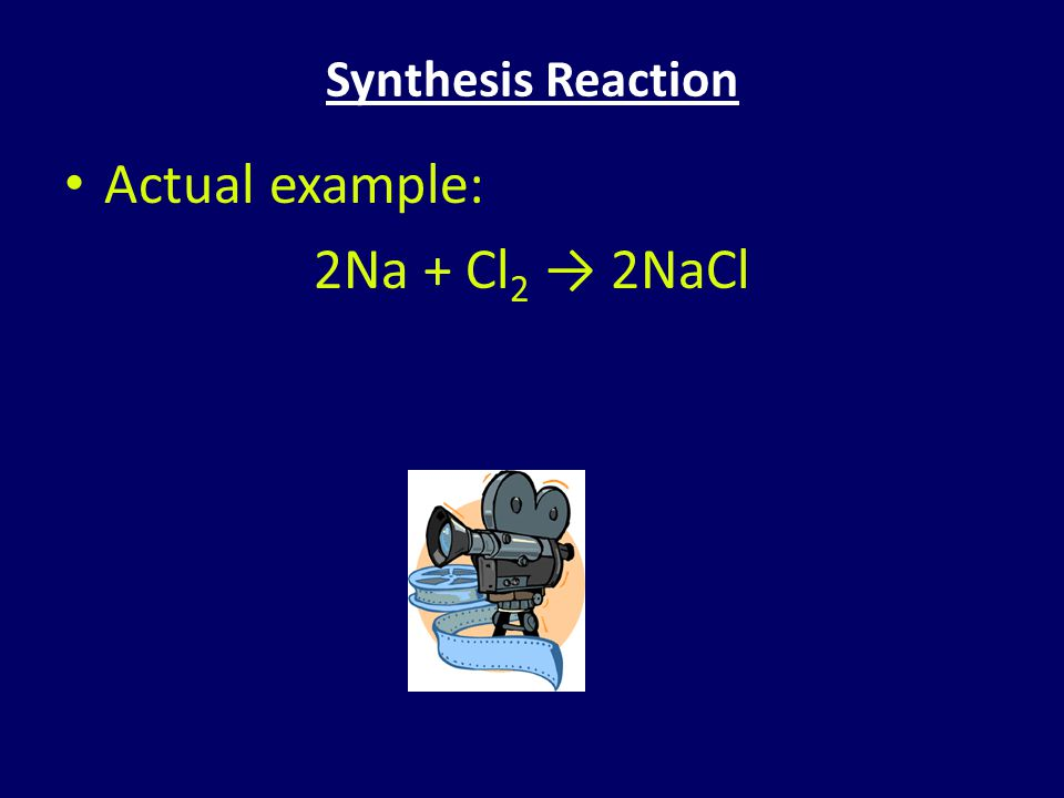 Synthesis Reaction Actual example: 2Na + Cl2 → 2NaCl