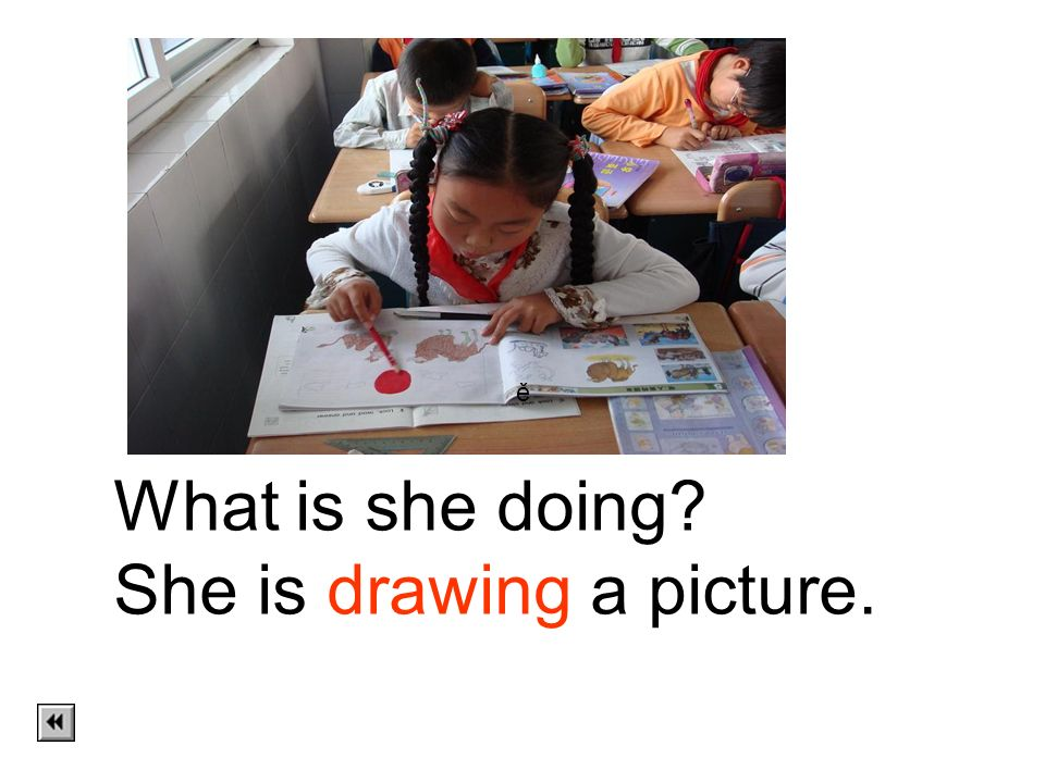 She is drawing a picture.