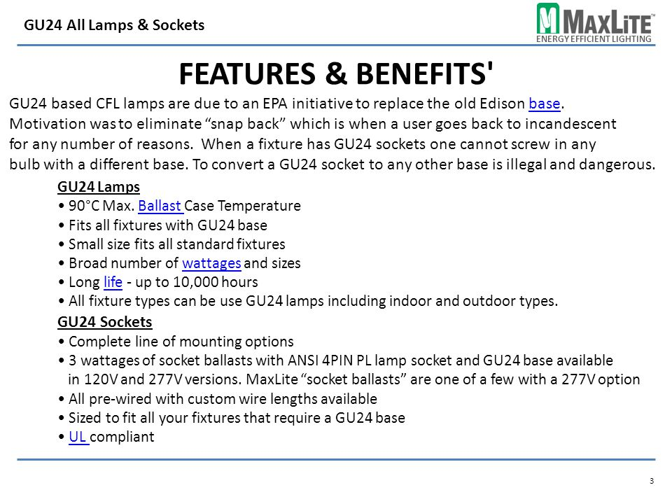 Features & Benefits GU24 All Lamps & Sockets