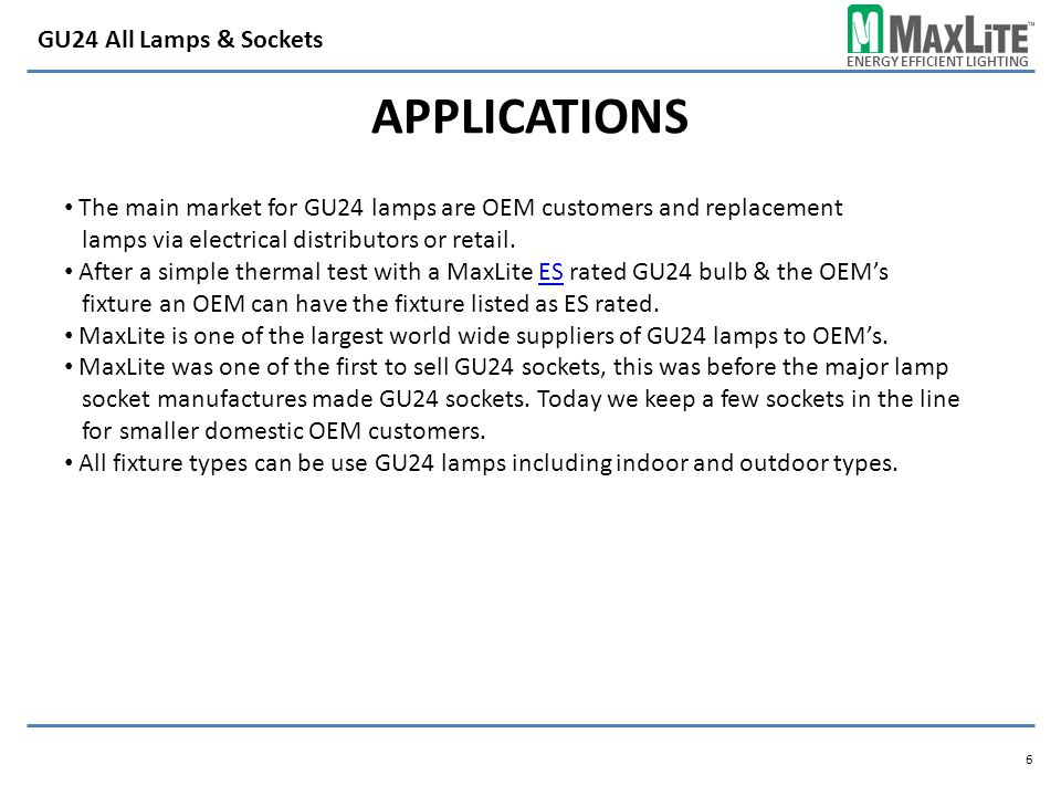 Applications GU24 All Lamps & Sockets