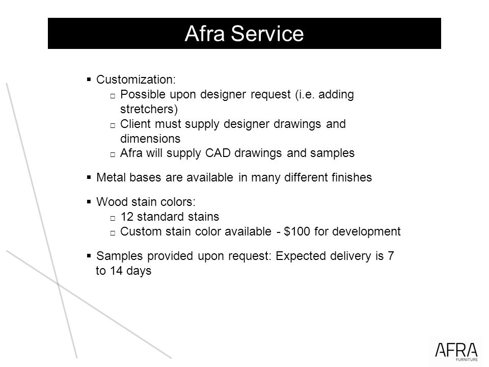 Afra Service Customization: