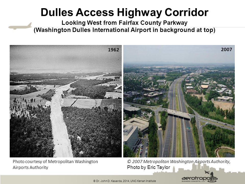 Dulles Access Highway Corridor Looking West from Fairfax County Parkway (Washington Dulles International Airport in background at top)