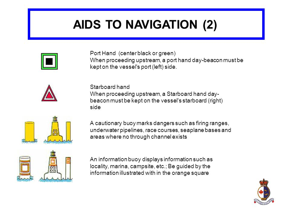 AIDS TO NAVIGATION (2) Port Hand (center black or green)