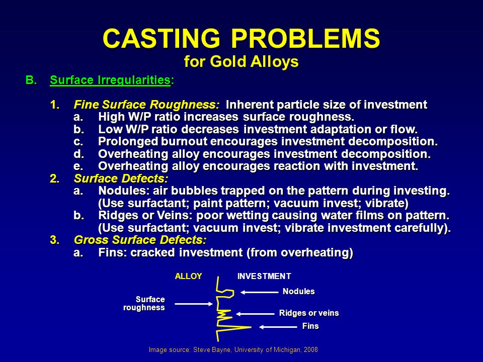CASTING PROBLEMS for Gold Alloys B. Surface Irregularities: