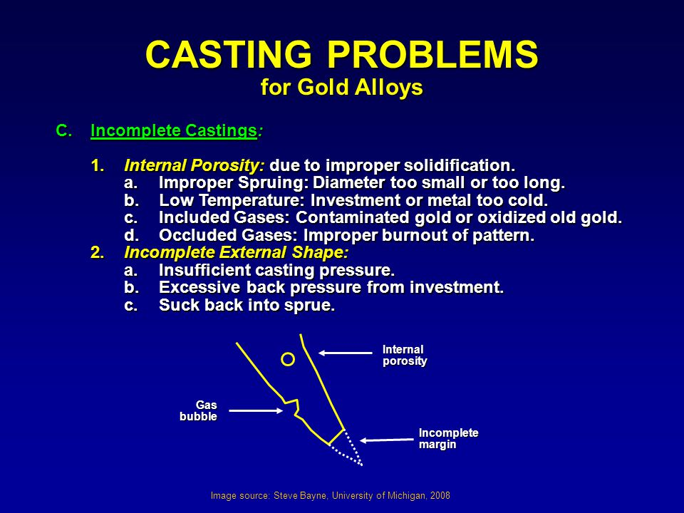 CASTING PROBLEMS for Gold Alloys C. Incomplete Castings: