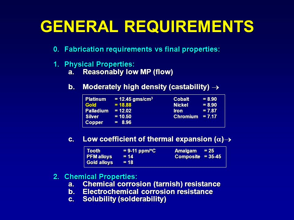 GENERAL REQUIREMENTS 0. Fabrication requirements vs final properties:
